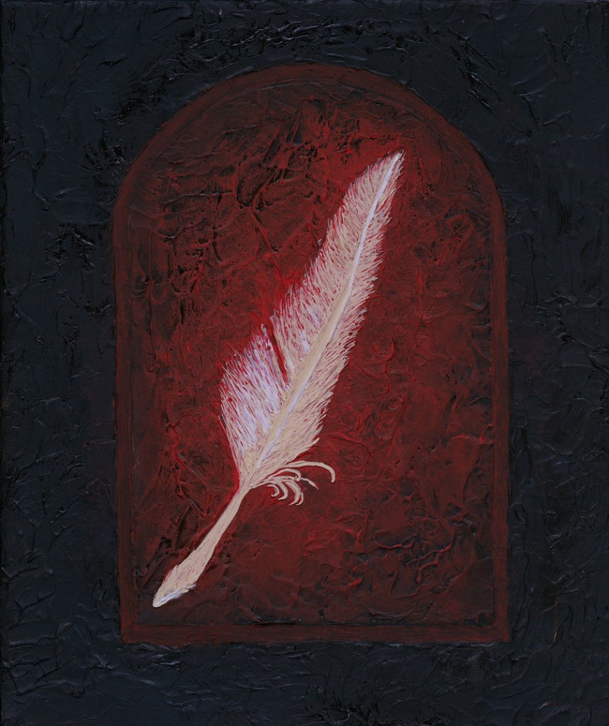 textured feather painting