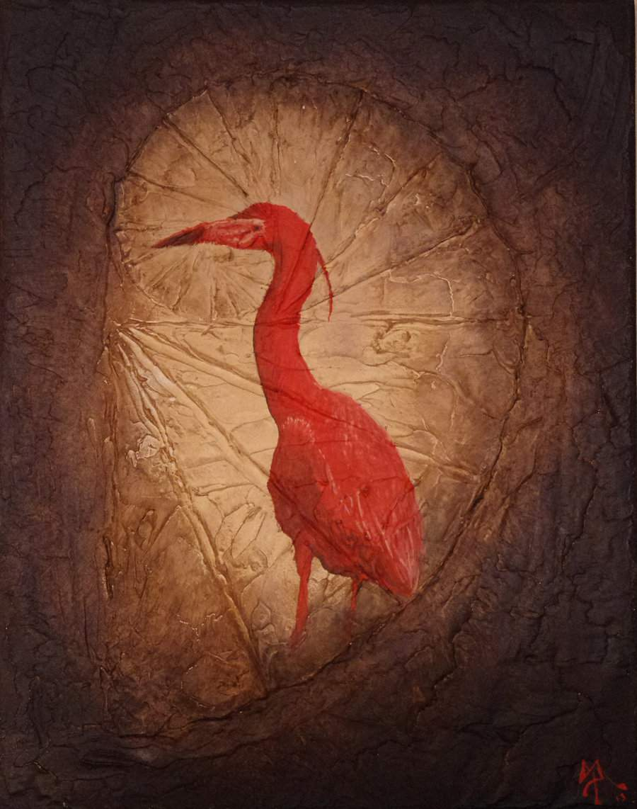 red heron textured painting